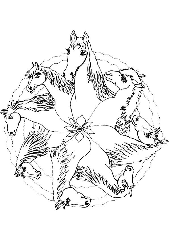 Gratis kleurplaat paarden mandala