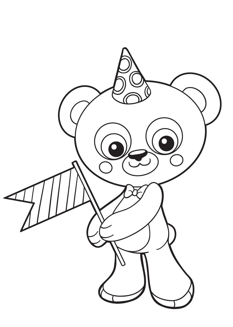 Gratis kleurplaat beer met een feestmuts en een vlaggetje