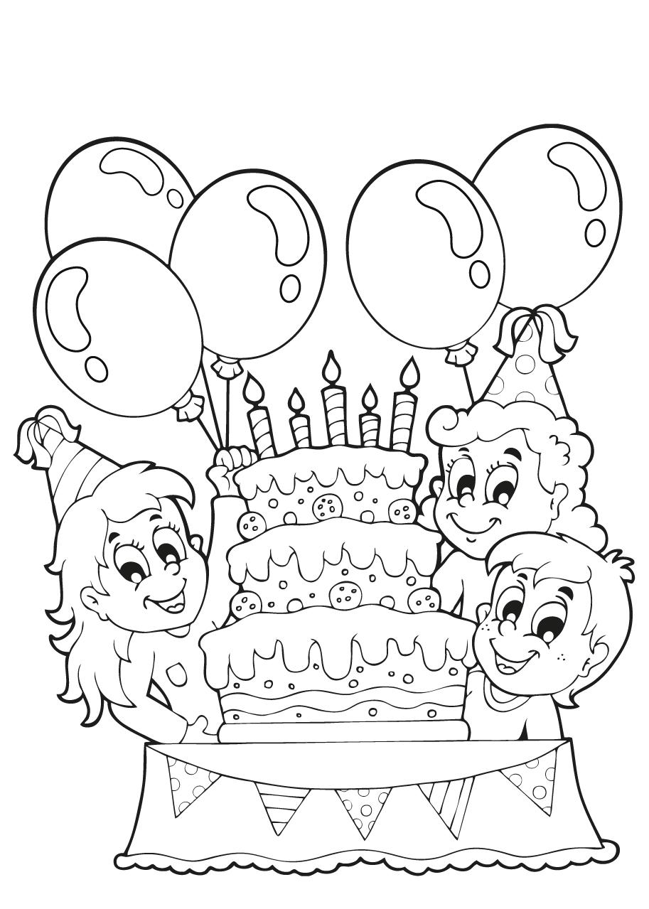 kleuren nu verjaardagstaart met ballonnen en 5kaarsjes