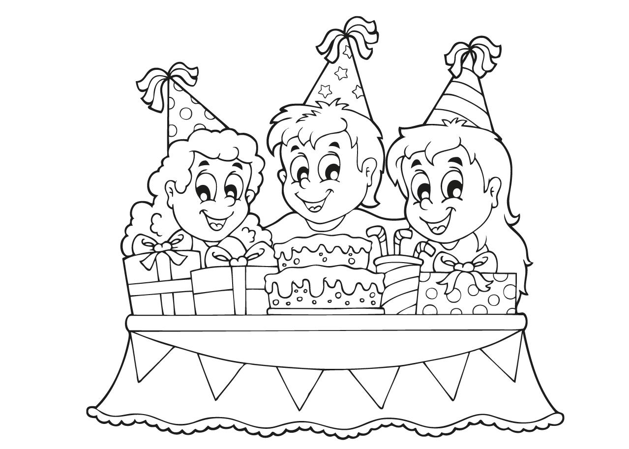 Kleuren Nu Kinderfeestje Met Taart Kleurplaten