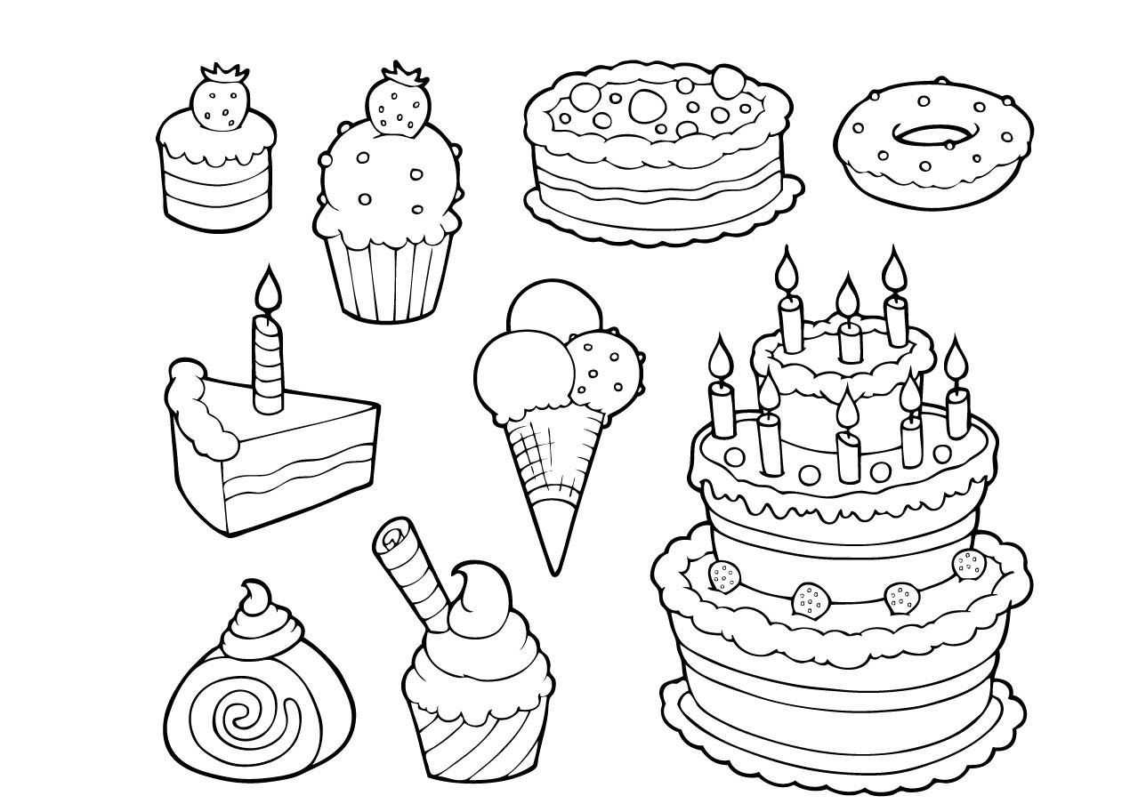 kleuren nu snoep en taart kleurplaten