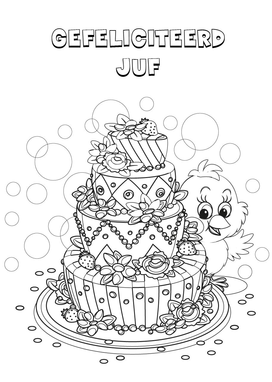 Gratis kleurplaat verjaardagstaart juf