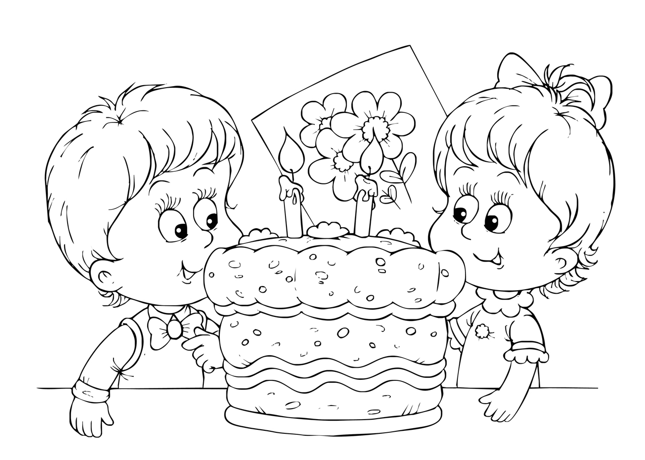 Gratis kleurplaat verjaardagstaart met 2 kaarsjes