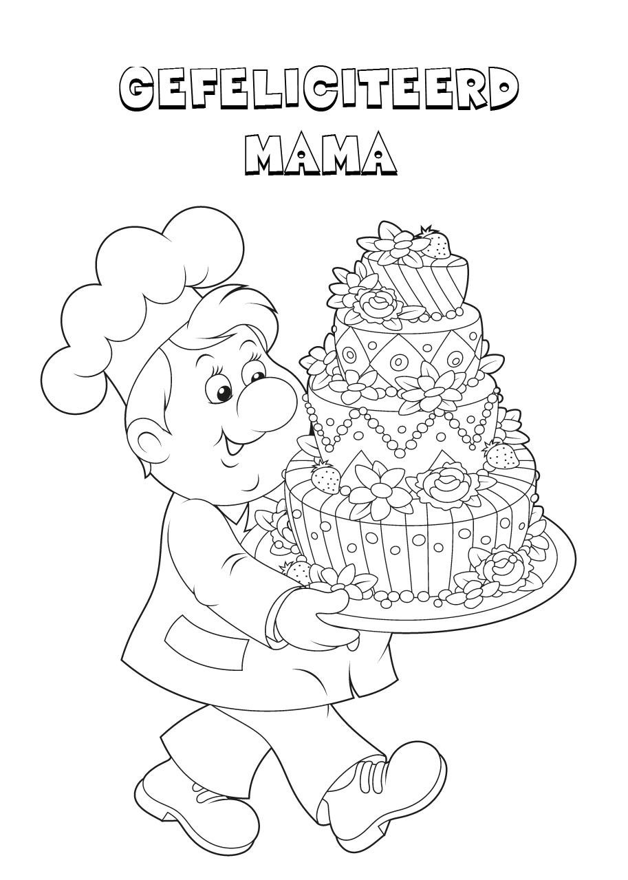 Gratis kleurplaat een verjaardagstaart voor mama