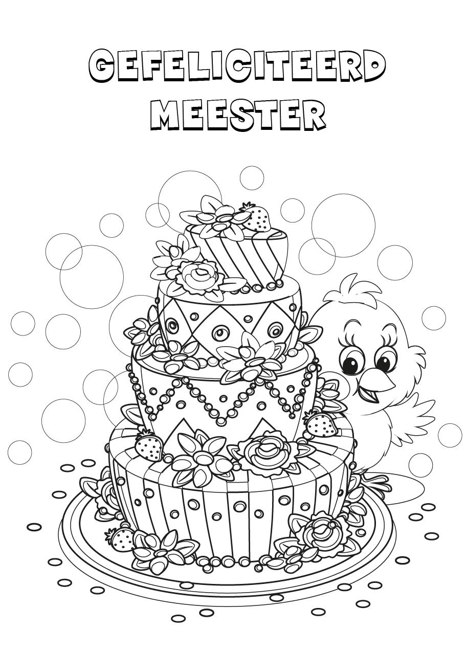 Gratis kleurplaat een verjaardagstaart voor de meester