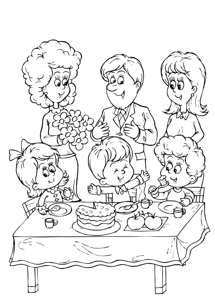 Gratis kleurplaat de hele familie aan tafel
