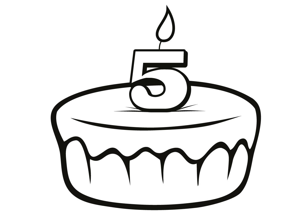 Gratis kleurplaat verjaardagstaart 5 jaar