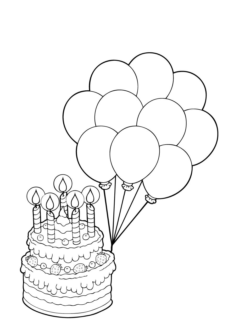 Kleuren.nu - taart met 5 kaarsjes en ballonnen kleurplaten