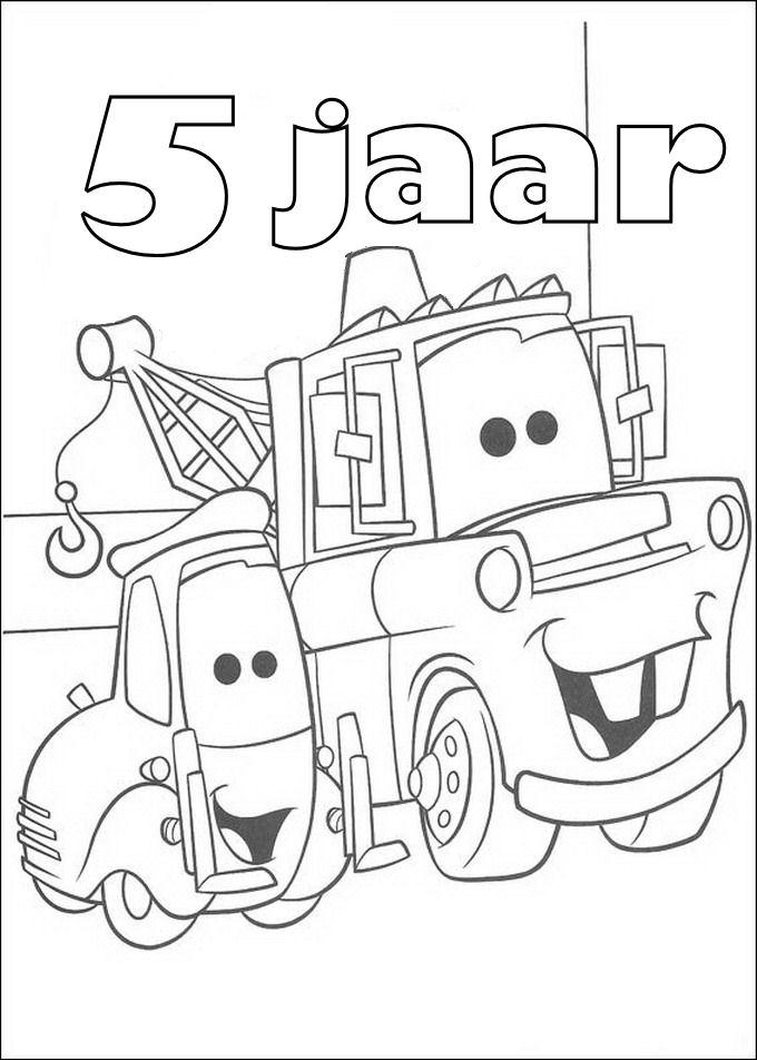 Gratis kleurplaat cars 5 jaar