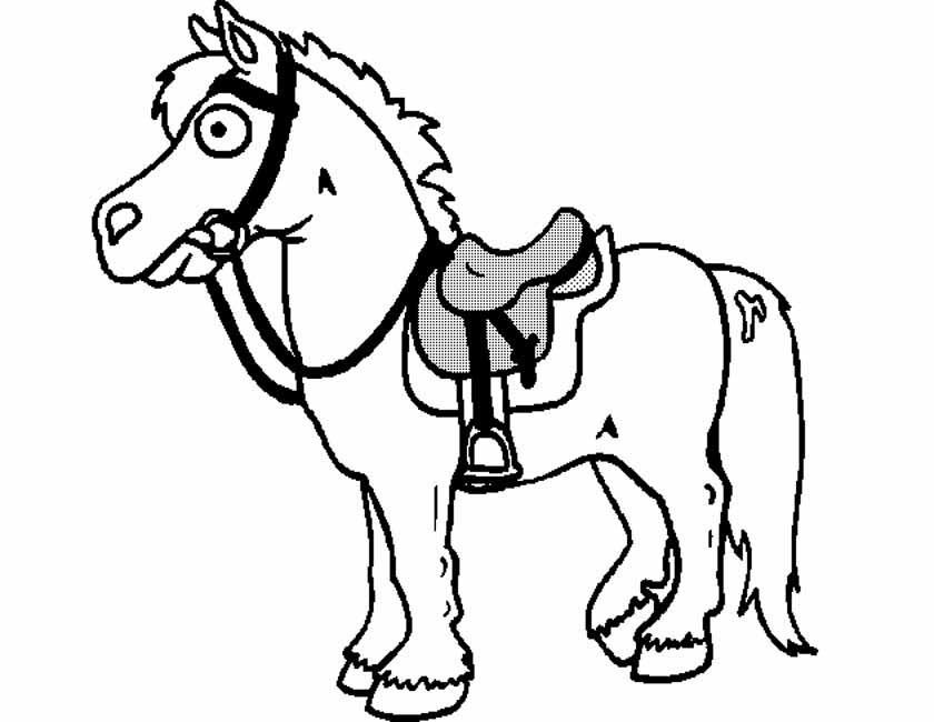 Gratis kleurplaat paard met zadel