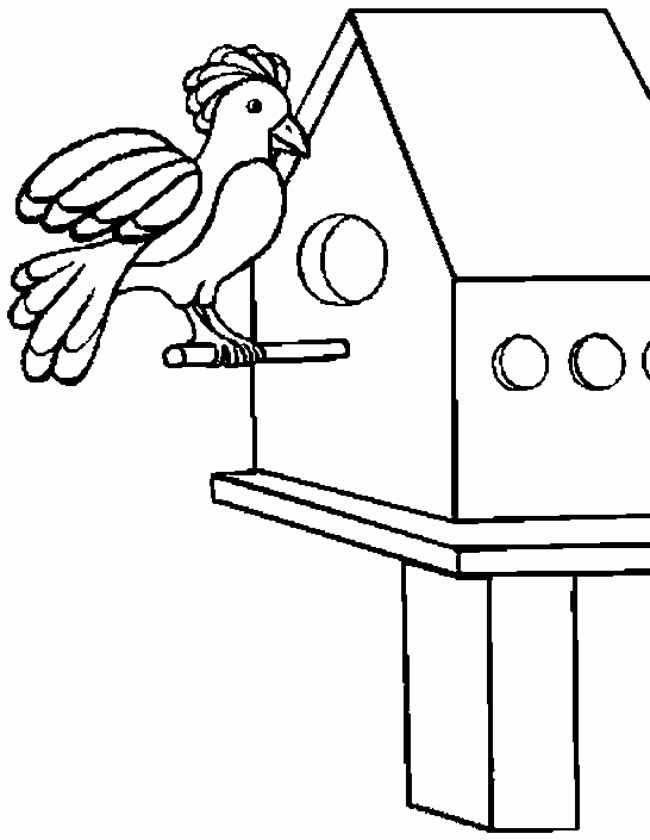Gratis kleurplaat vogel in vogelhuisje