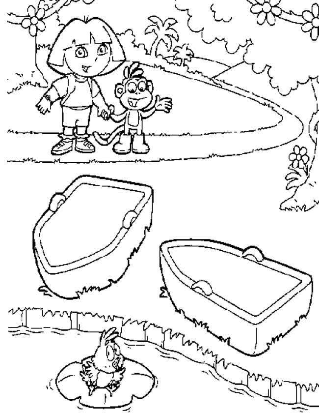 Gratis kleurplaat Dora en Boots varen