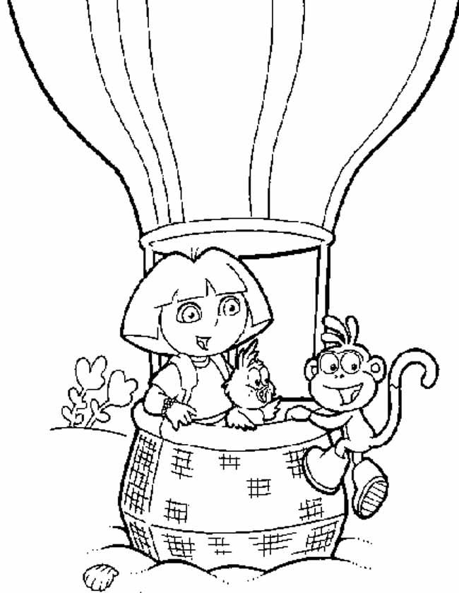 Gratis kleurplaat dora en boots in de luchtballon