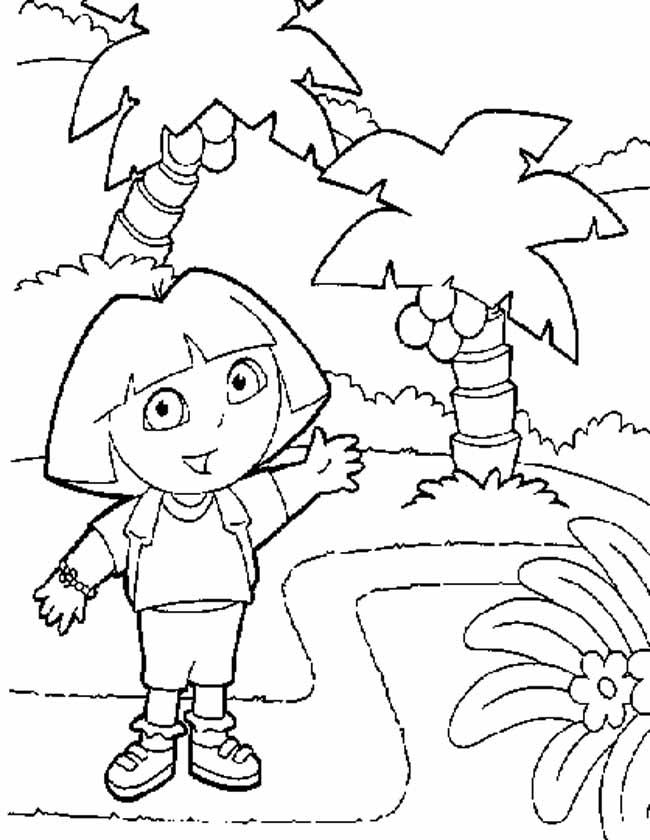 Gratis kleurplaat dora palmbomen