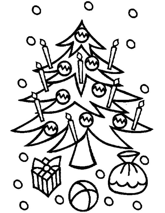 Gratis kleurplaat Kerstboom met lichtjes