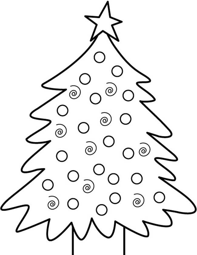 Gratis kleurplaat Kerstboom met ballen en ster