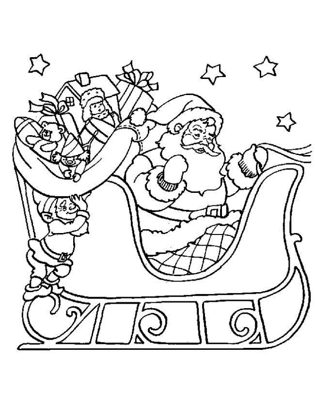 Gratis kleurplaat Kerstman op de arreslee