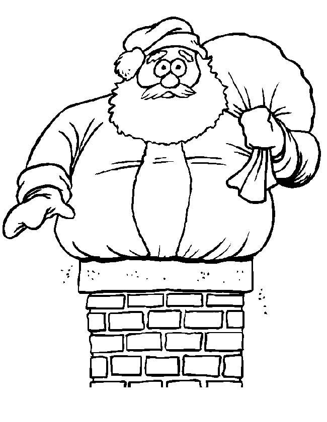 Gratis kleurplaat Kerstman vast in de schoorsteen