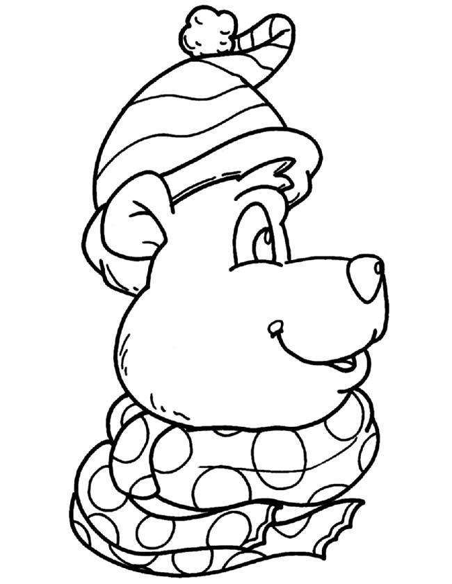 Gratis kleurplaat Kerstmis beer