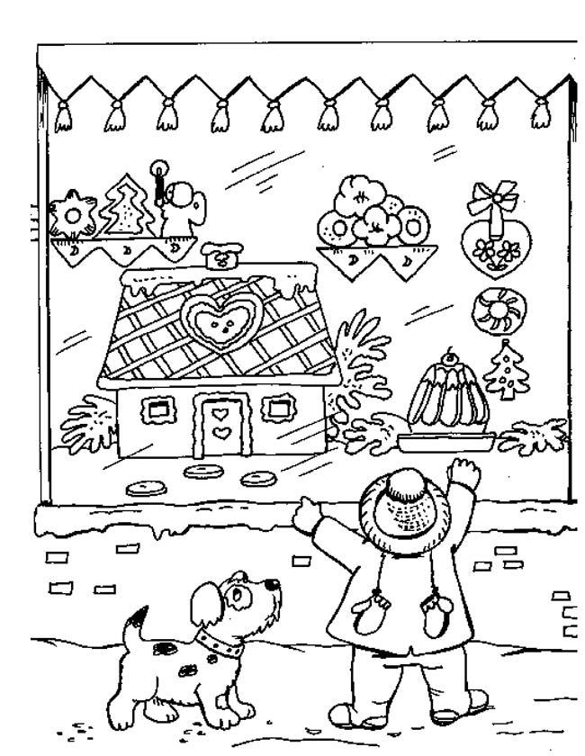 Gratis kleurplaat Kerst in de etalage