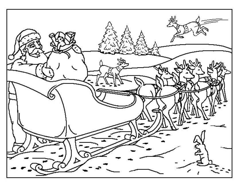 Kleurplaten Kerstmis Rendier.Kerstman Met Slee En Rendieren Kleurplaat Kleuren Nu Rendieren Voor