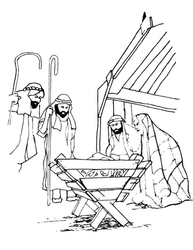 kleuren nu jezus in de kerststal kleurplaten