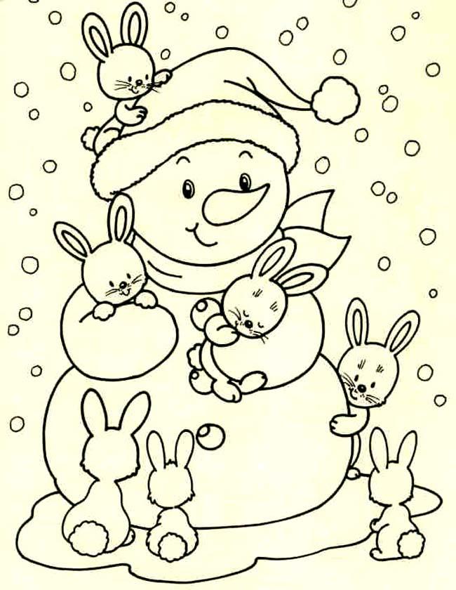 kleuren nu konijnen met sneeuwpop kleurplaten