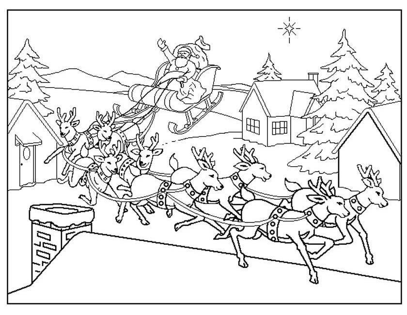 Kleurplaten Kerstmis Rendier.Kleurplaat Kerstman Op Slee Kleuren Nu Rendieren Voor De Slee