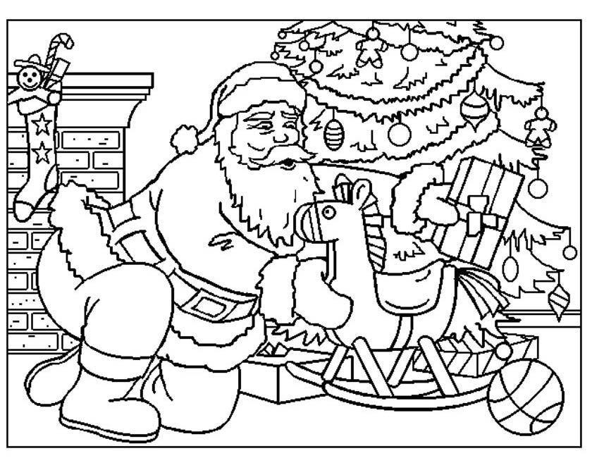 Gratis kleurplaat Kerstman met hobbelpaard