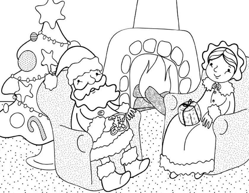Gratis kleurplaat Gezellig samen kerst vieren