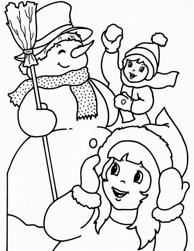 Gratis kleurplaat Kerst sneeuwpoppen