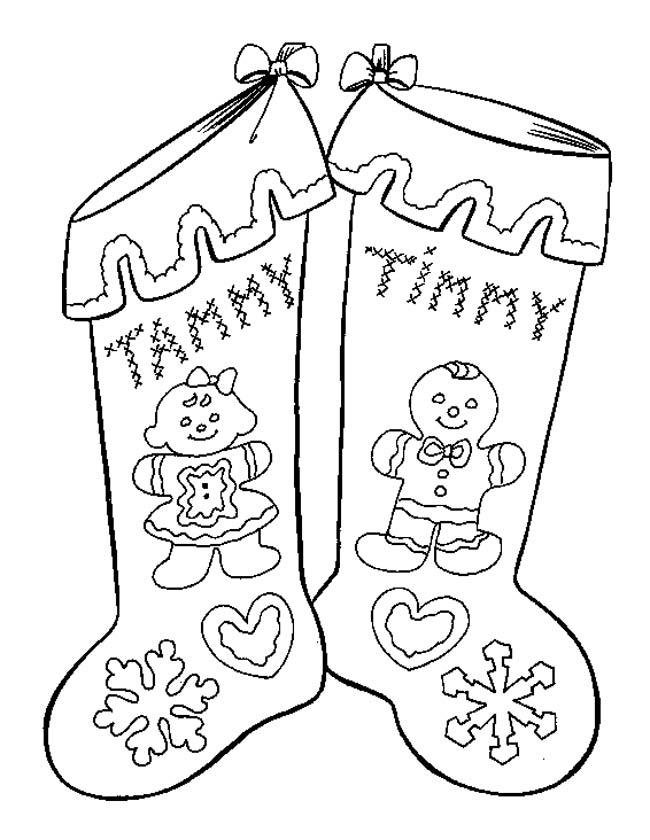 Gratis kleurplaat Kerstfeest sokken