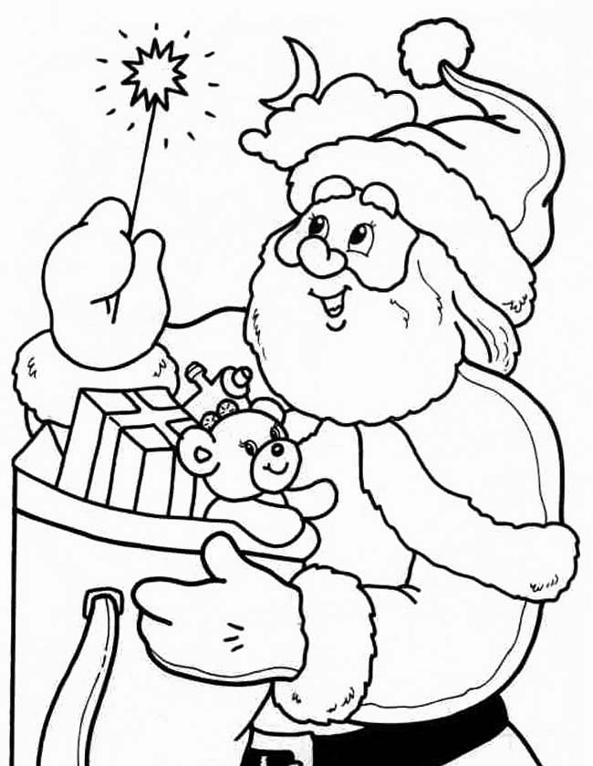 Gratis kleurplaat Kerstman met sterretje