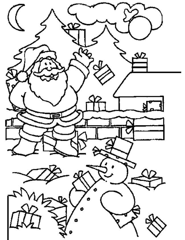 Gratis kleurplaat Sneeuwpop in de tuin