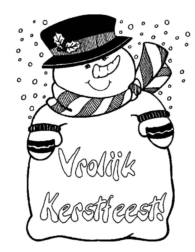 Gratis kleurplaat sneeuwpop vrolijk kerstfeest