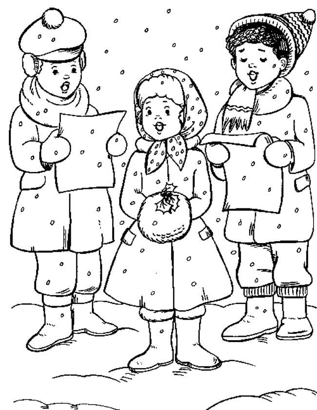 Gratis kleurplaat zingende kinderen kerstliedjes