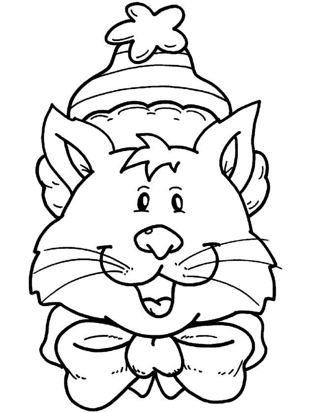 Gratis kleurplaat kat met kerstmuts