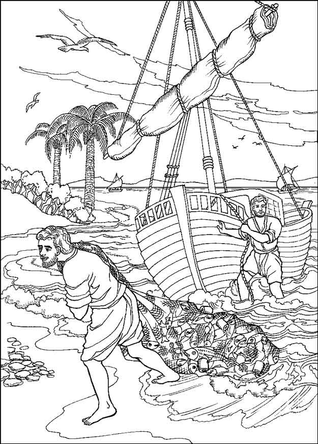 Kleurplaat Kerst Jezus Kleuren Nu Wonderbaarlijke Visvangst Kleurplaten