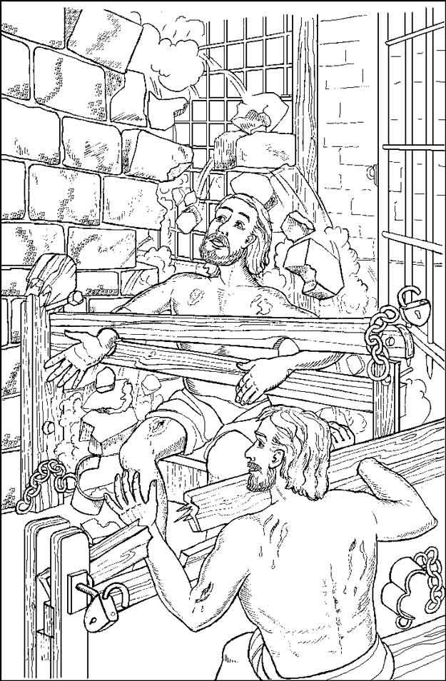 Gratis kleurplaat Paulus en Silas in de gevangenis