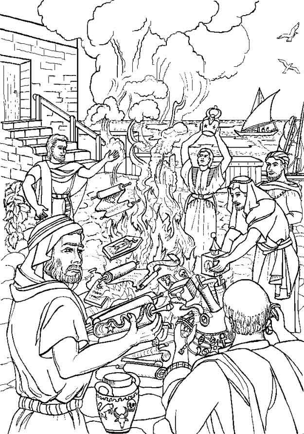 Gratis kleurplaat Paulus verbrandt heidense voorwerpen