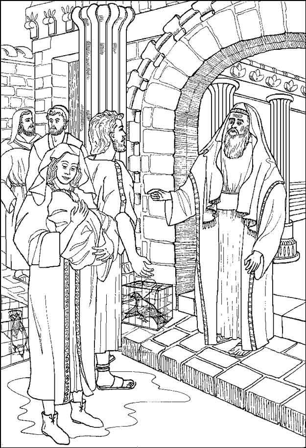 Gratis kleurplaat Simeon in de tempel
