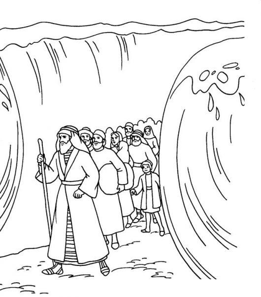Gratis kleurplaat Mozes met het volk door de Rode Zee