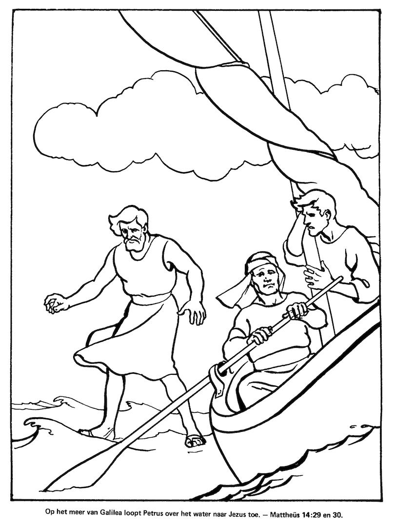 kleuren nu petrus loopt het water naar jezus