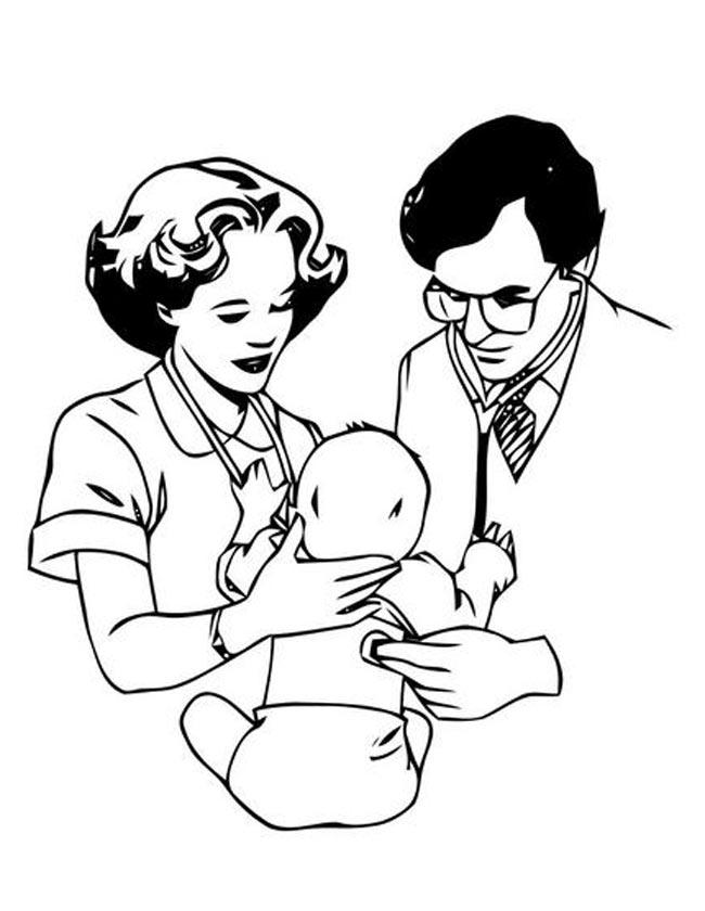 Gratis kleurplaat Dokters checken pasgeboren baby