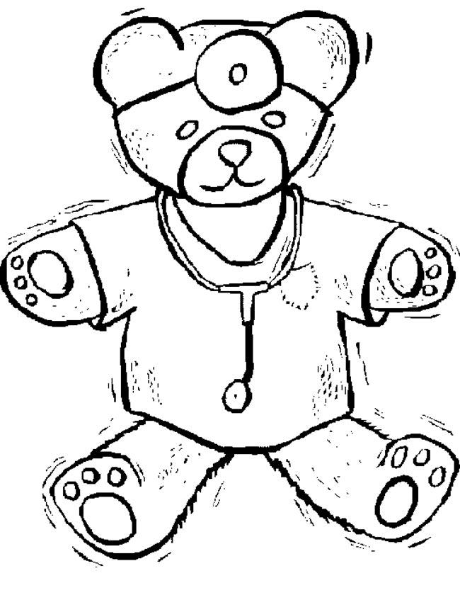 Gratis kleurplaat Dokter beer