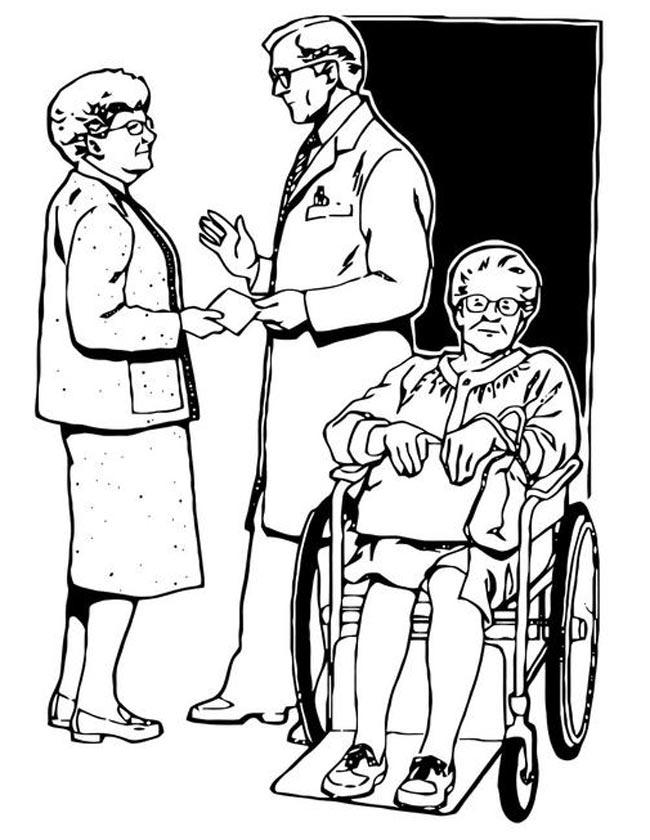 Gratis kleurplaat oma in een rolstoel