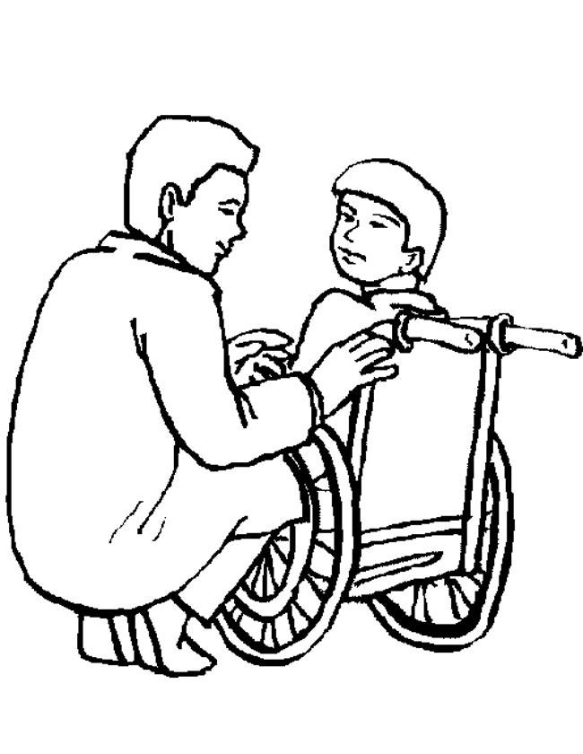 Gratis kleurplaat kind in rolstoel