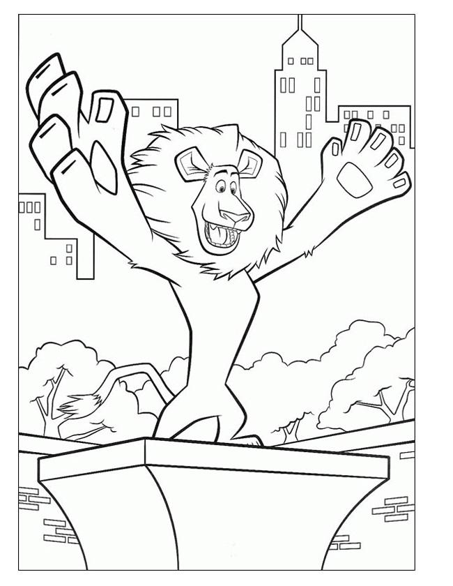 Gratis kleurplaat  Alex de leeuw in New York