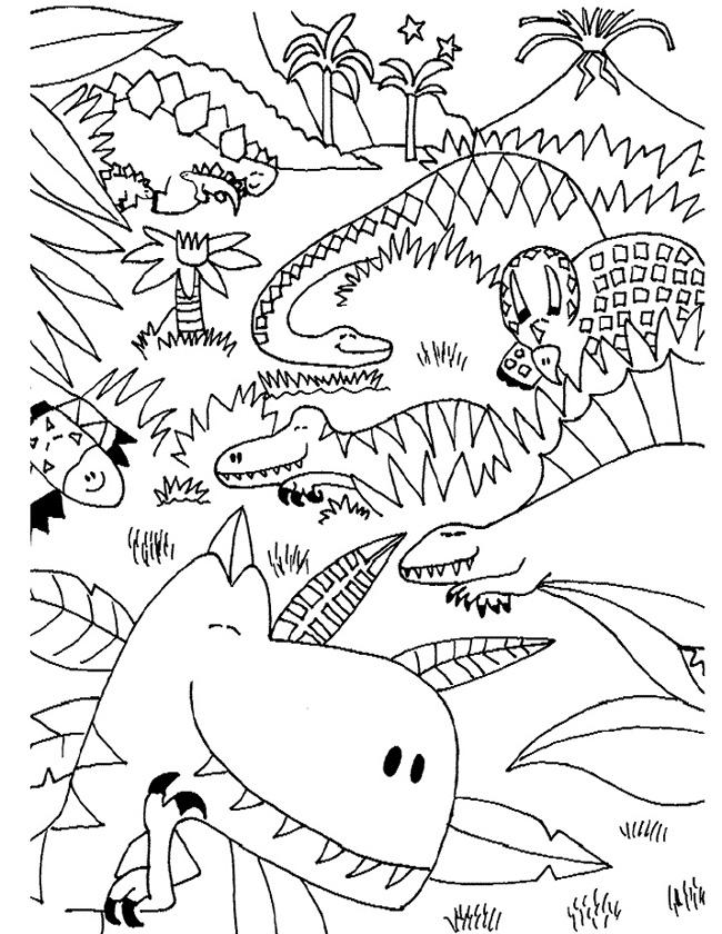 Gratis kleurplaat Bos vol met dinos