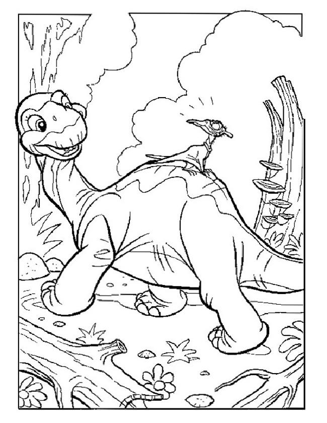 Gratis kleurplaat Lieve apatosaurus